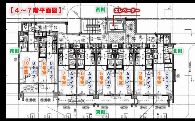 九州大学 伊都キャンパス 新築 学生専用 マンション ユーレコルトITO弐番館 4~7階 平面図