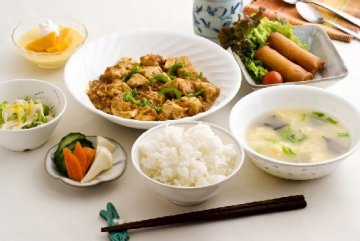 夕食の一例(麻婆豆腐)