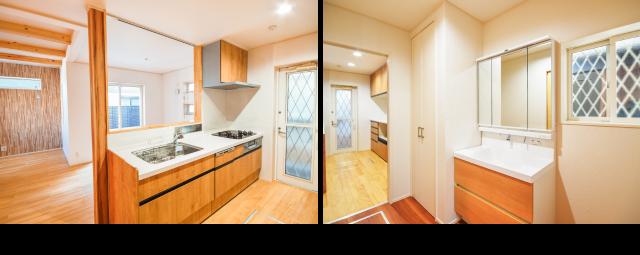 キッチン、洗面室