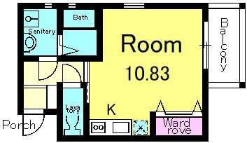 02号室の間取りです