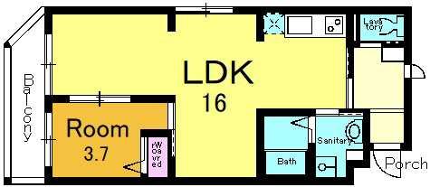 04号室の間取りです   44.64m<sup>2</sup>