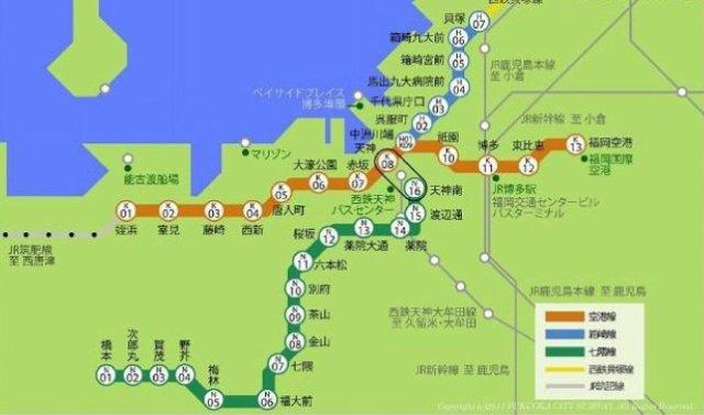 福岡市営地下鉄路線図です