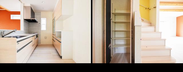 キッチン、リビングイン階段