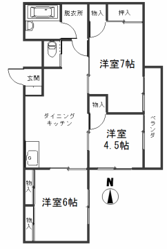 2-D号室(家賃4.5万円)