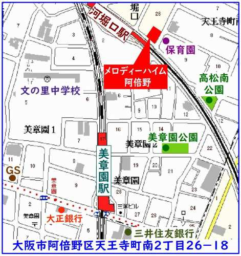 阿倍野区:メロディ-ハイム阿倍野位置図