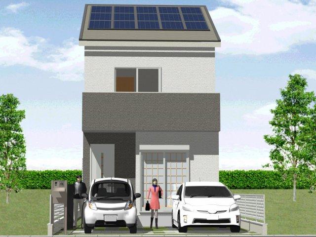 太陽光発電パネル搭載の新築一戸建てイメージ