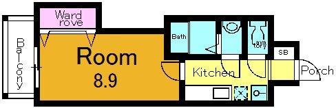 南向きの部屋になります。収納の位置は部屋によって異なります。