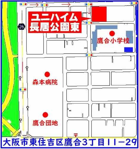 東住吉区:ユニハイム長居公園東位置図
