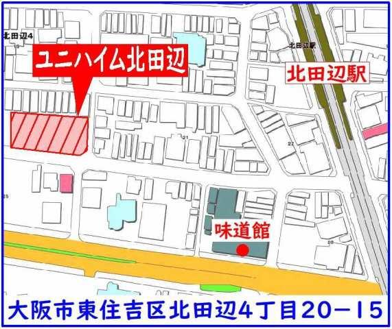 東住吉区:ユニハイム北田辺位置図
