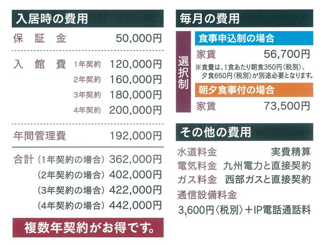 ドーミー九大学研都市 入居費用等一覧