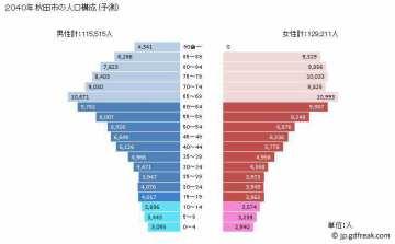 2040秋田市人口ピラミッド