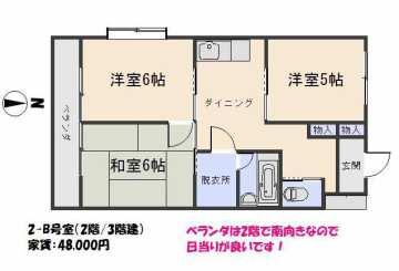 2-B号室(家賃4.8万円)
