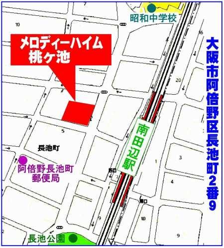 阿倍野区:メロディーハイム桃ヶ池位置図