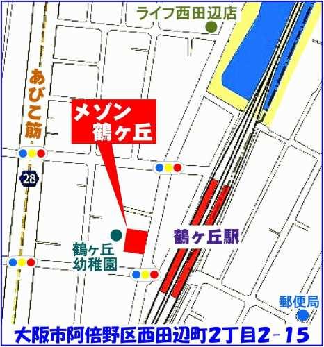 阿倍野区:メゾン鶴ヶ丘位置図